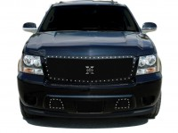X Metal Custom Black Mesh Chrome Studded Grille (Black)