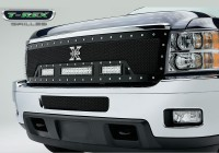 11-14 Silverado HD Torch Series X Metal Custom Grille w/LED Driving Lights