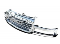 ABS Replacement Chrome Horizontal Bar Style Grille w/Emblem Area